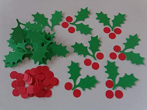 Holly Berry Die Cuts - Scrapbooking Embellishments - Confetti - (Set of 100 Holly Leaf Pairs and 200 Red Berry pieces) from Honeybear Party Boutique