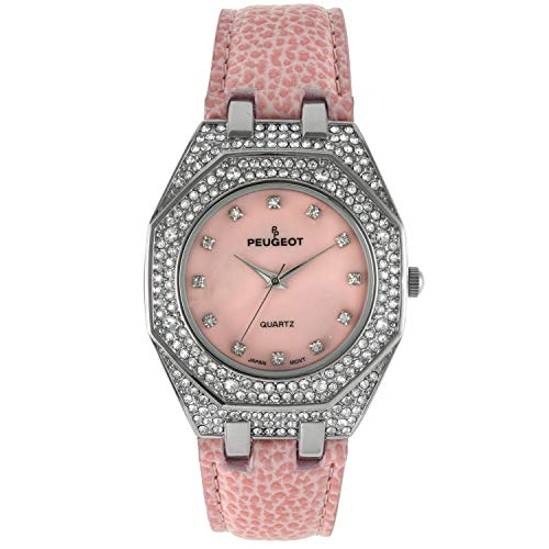 Peugeot Womens Boyfriend Wrist Watch with Crystal Bezel and Matching Leather Color Band Strap