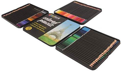 72 LáPices de Colores con Caja de Hierro Metal LáPices Brillantes ...