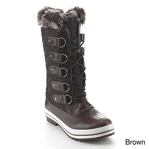 Refresh Wind-02 Womens Round Toe Lace Up Waterproof Quilted Mid Calf Snow Boots Brown