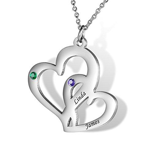 HOUSWEETY Familie Hals-kette Namenskette mit Geburtssteinen - Personalisiert mit Ihrem eigenen Namen (Herz zu Herz)