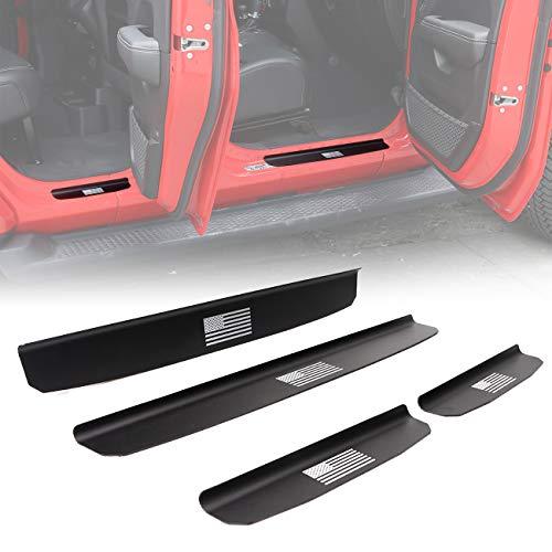 BOXATDOOR Door Sill Protector for 2018-2019 Jeep Wrangler JL 4Door Scuff Plate Entry Guards Protector Trim Aluminum