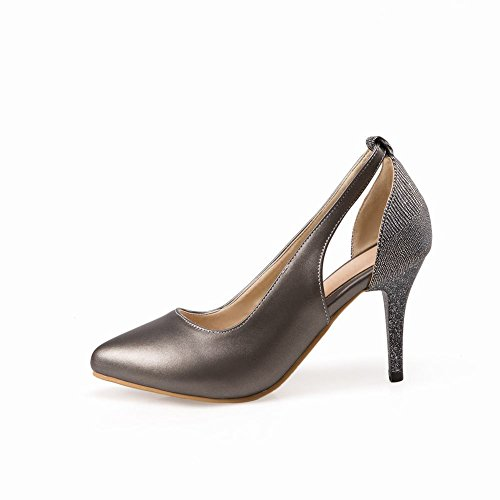 High Carolbar Toe grey Shoes Pointed Bridal Heels Stilettos Dress Metal Womens wfIfqR