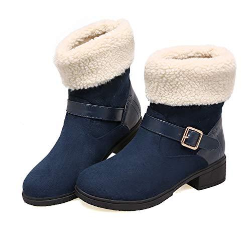 31533f937413 ... 33 Bottes Chaud Mode Hiver Bleu 42 Neige Haut Bottes Bloc Bottines Talon  Femme Fourrure Casual ...