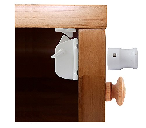 ALPHA Magnetic Baby Proof Cabinet Locks - No Tools or Drilling, Easy Peel & Stick (4 Locks + 1 Key + Extra 3M Sticky Pads) - For Baby Child Safety & Baby Proofing Products
