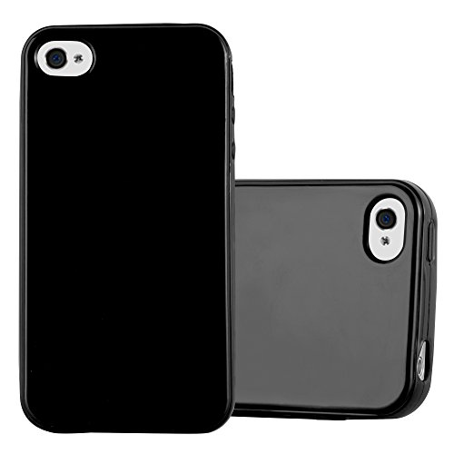 Cadorabo Case Works with Apple iPhone 4 / iPhone 4S in Jelly Black - Shockproof and Scratch Resistant TPU Silicone Cover - Ultra Slim Protective Gel Shell Bumper Back Skin