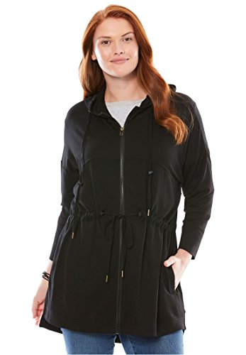 Woman Within Plus Size French Terry Swing Jacket - Black, 26/28 -