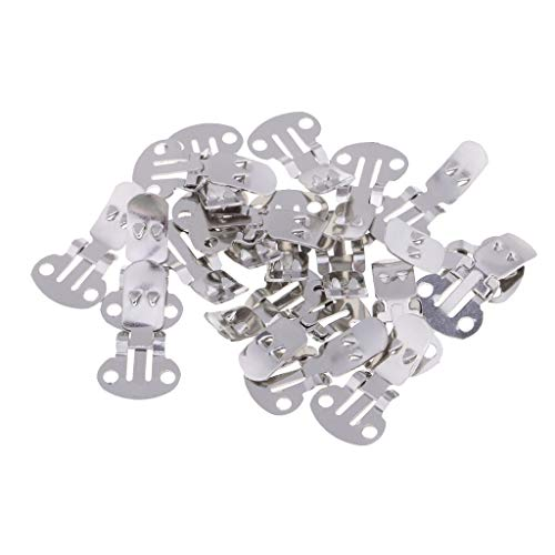 Prettyia Wholesale Pack of 20 Stainless Steel Flat Blank Shoe Clips for DIY Accessories - Small