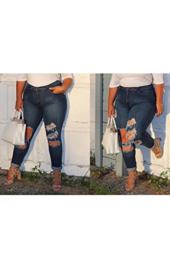Oversize Buco Jeans Angosciato Trouseres Le Selvedge Pantaloni Jeans Lava Dura Si Strappato Donne Blue xS8qAz
