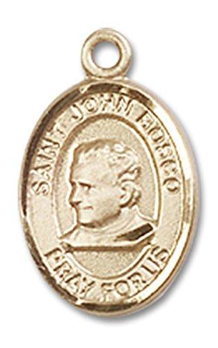 14 Karat Gold Saint John Bosco Medal Petite Charm Pendant, 1/2 Inch