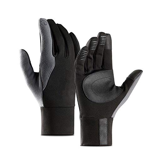 Mens Leather Gloves Touch Screen Thinsulate Lined Driving Warm Gloves Winter Keep Warm Mittens,Dark Grey,S