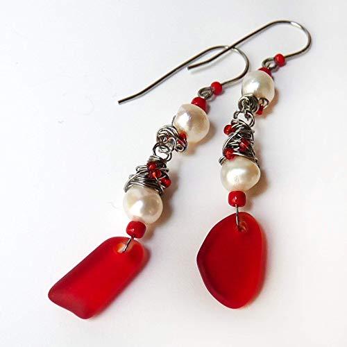 Of Mother Earrings Pearl Ruby - Valentine's Red & Pearl Cultured Sea Glass Earrings - Dangle Earrings - Handmade Wire Wrapped Drop Earrings - Valentine's Day Gift, Mother's Day Gift, Gift for Women - Stainless Steel - Hypoallergenic