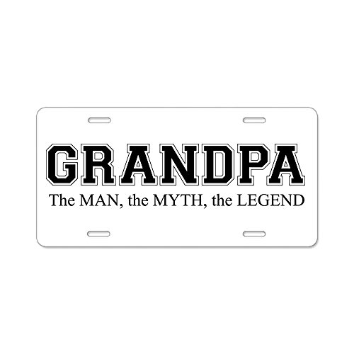 CafePress - Grandpa The Man Myth Legend Aluminum License Plate - Aluminum License Plate, Front License Plate, Vanity Tag