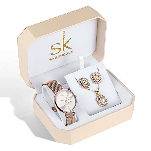Women Watch Sets Quartz Wrist Watches with Rose Gold Earring and Necklace 3 Sets for Christmas Gifts (0105 RG Set)