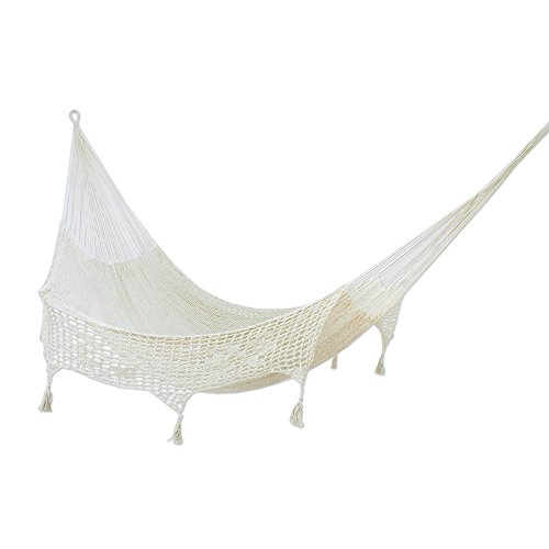 NOVICA Sustainable Cotton Ivory Rope Hammock 'Caribbean Sands' (Double)