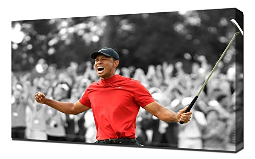(Lilarama USA Tiger Woods Masters Win 2019 3 Black and White and Red - Canvas Art Print - Wall Art - Canvas Wrap)