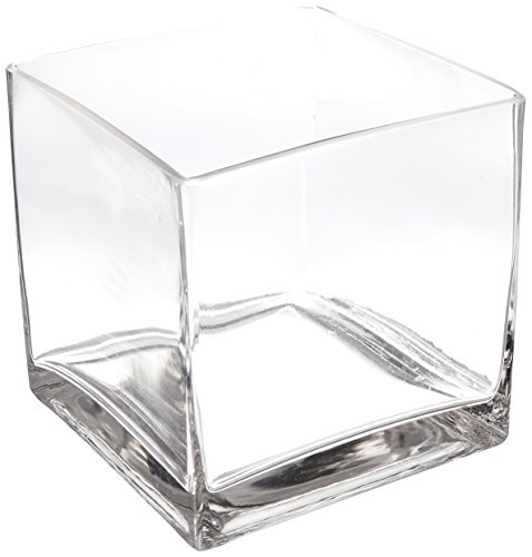 - WGV Clear Square Cube Glass Vase/Votive Candle Holder, 6-Inch