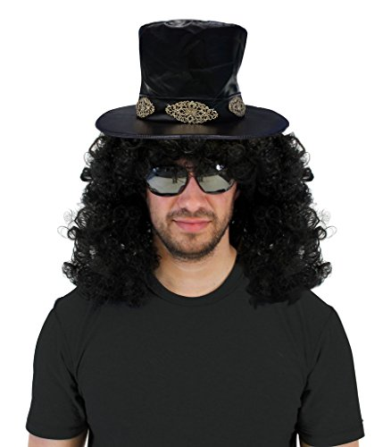 Slash Costume (Slash Curly Rocker Wig with Hat Costume Set)