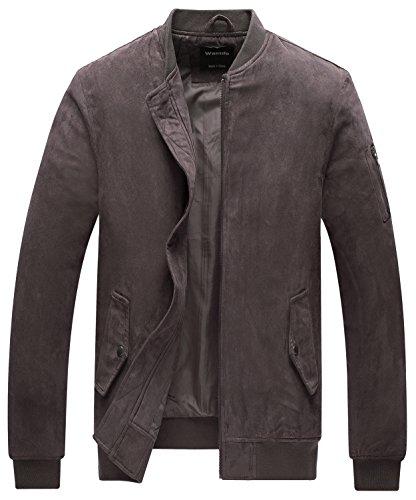 Quilted Flight Jacket (Wantdo Quilted Bomber Jacket Padded Warm Windproof Zip-Front Outdoor Baseball Collar Coat Dark Brown Medium)