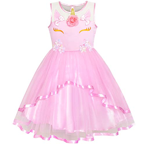 (Girls Dress Unicorn Holiday Pink Tulle Princess Party 7)