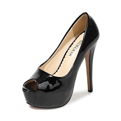 Women's Peep Toe Platform High Heel Dress Pumps Patent Black Tag 44 - US B(M) 11 ()