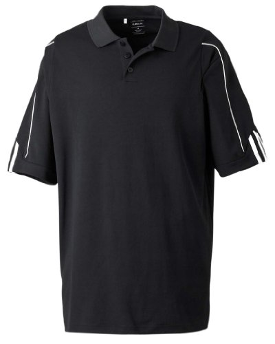 (adidas Men's Climalite 3 Stripes Cuff Polo Shirt, XXX-Large, Black/White)