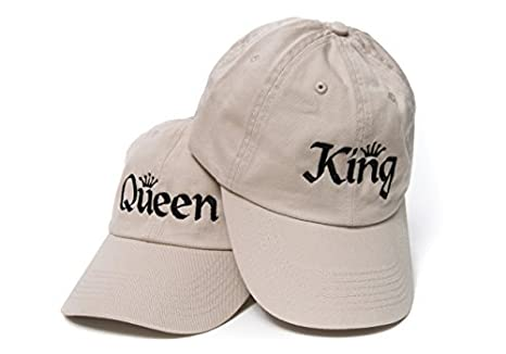 King and Queen Baseball Caps Embroidered Dad Hats Set Unstructured Low  Profile Adjustable Strap Back ( 6942e601387f