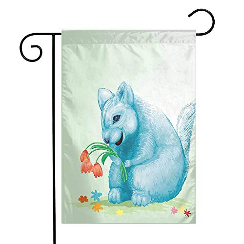 - Animal Garden Flag Dear Blue Mouse with Tulip Bouquet Caricature Hamster Chinchilla Mascot Rodent Toy Premium Material W12 x L18 Multicolor