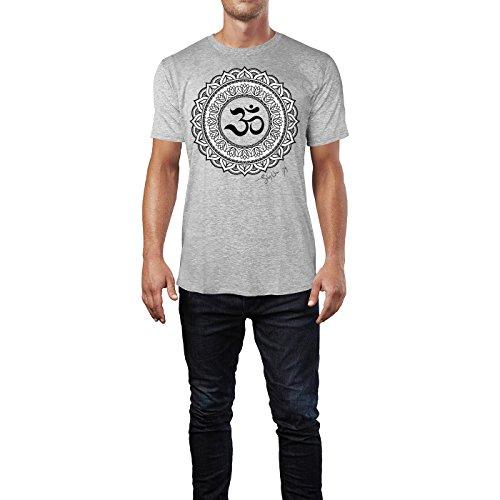 SINUS ART ® Henna Tattoo Mandala Herren T-Shirts in hellgrau Fun Shirt mit tollen Aufdruck