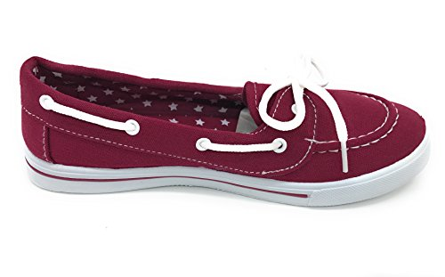 Sneaker Canvas Burgundy Berry Blue EASY21 Slip Boat Tennis On Flat up Lace Shoe Comfy Toe Round BH7Zqx7