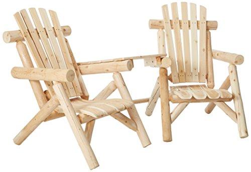 (Lakeland Mills CFU329 Cedar Log Vista Tete Outdoor Chairs, Natural)