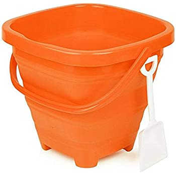 Packable Pails. Collapsible Bucket/ Beach Pail with Shovel- Perfect for Travel in Starfish Orange (By AquaVault)