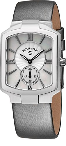 Philip Stein Classic Square Womens Stainless Steel Watch - Mother of Pearl Face with Second Hand Natural Frequency Technology Ladies Watch - Silver Satin Leather Band Analog Quartz Watches for Women