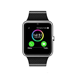 Smart Watch Call Sync & Handfree For Android 4.2 Or Above & Iphone 5s66s77s (Silver) By Heshi Inc