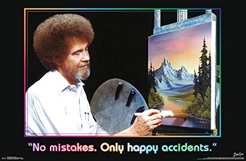Trends International Bob Ross-Accidents Mount Bundle Wall Poster, 22.375