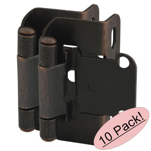 10 Pair Pack - Cosmas 27550-ORB Oil Rubbed Bronze Self Closing Partial Wrap Cabinet Hinge 1/2'' Inch Overlay [27550-ORB] by Cosmas