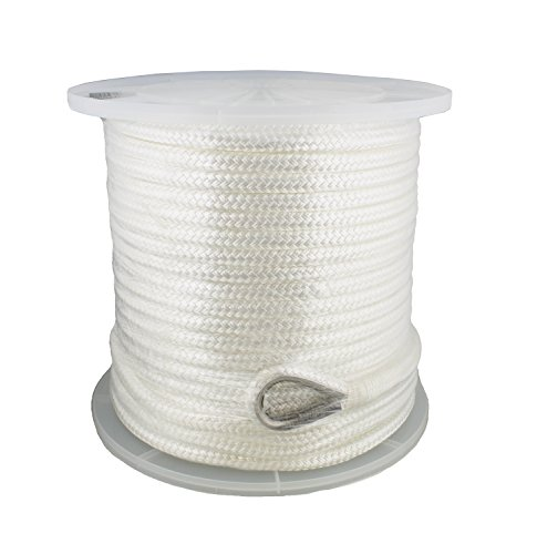 "Redneck Convent Anchor Rope Nylon Braided w/Thimble, 1/2"" Inch by 200' Feet, 496 lbs Pound Limit – Boat Anchor, Dock Line, Mooring Line"