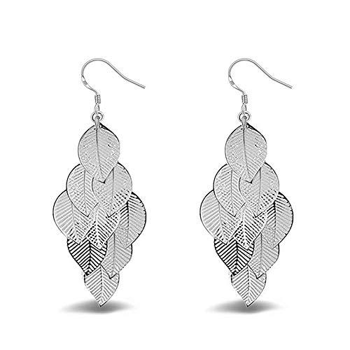 (925 Silver Leaf Dangle Earrings Elegant Earrings with a Charm Jewelry Gift Box for Women and Teen Girls)