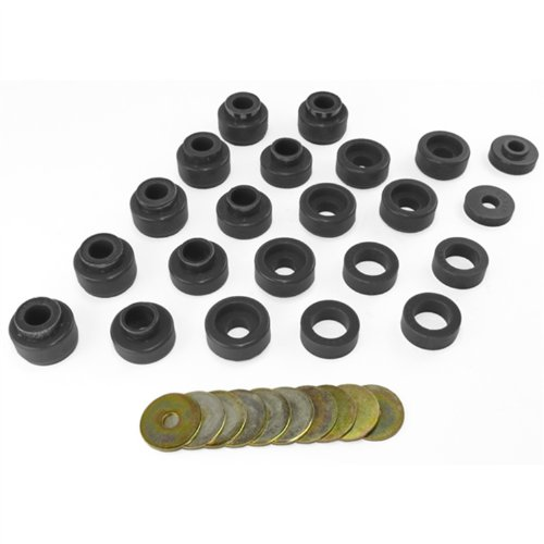 Prothane 1-105-BL Black Body Mount Bushing Kit for CJ5, CJ7, CJ8, YJ and TJ - 22 Piece (Replacement Body Urethane Bushing)