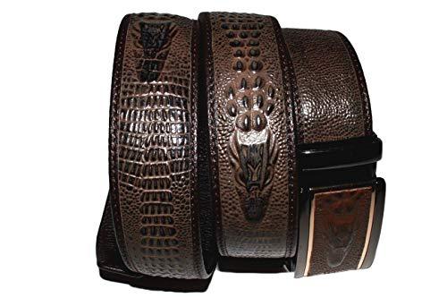Mooniva Alligator Crocodile Dress Ratchet Belt with Embossed Top Grain Leather