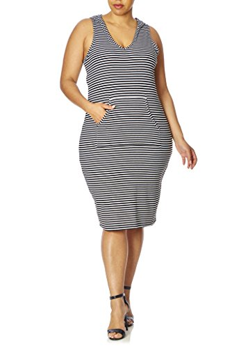 [77822XR-BLK/WHT-1X] Love Collection Hooded Maxi Dress for Women – Junior Plus Size, Thin Stripe (Hood Dress)