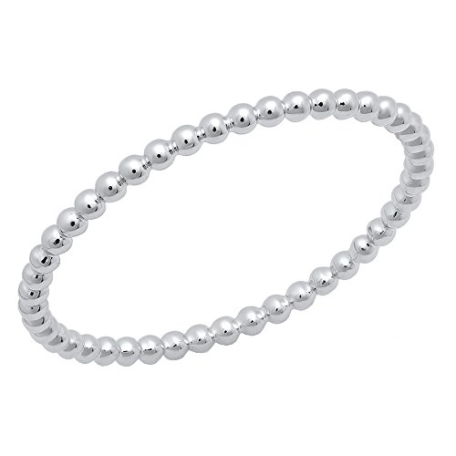 Dazzlingrock Collection 14K Beaded Style Ladies Ball Chain Design Wedding Band, White Gold, Size 7