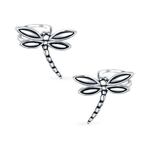 Detailed Ring Sterling Dragon Silver - .925 Silver Dragonfly Motif Insect Ear Cuff Earrings