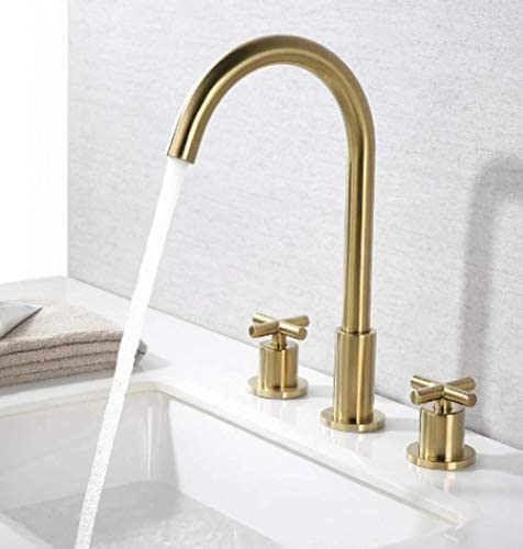 Yadianna 温水と冷水の蛇口、洗面台の三点セットブラシゴールド流域の蛇口のバルブシート直径20ミリメートルインレットとアウトレットパイプ径20mmの洗面台銅スプリットダブルハンドル