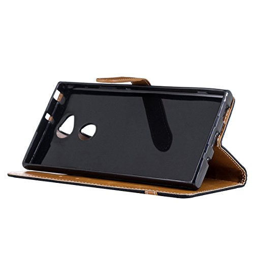 Funda para Sony Xperia XA2 Ultra,Grandcaser Double Layer Protectora Funda Suave Stitch Denim Leather Cuero Libro Flip Estuche de Silicona Bumper Flexible Cover Carcasa - Rojo Negro