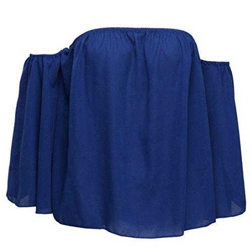 paule en JackenLOVE Femme Denudee Fashions Vrac Tops Longues Casual Blouses Chemisier Unie Bleu Tops Couleur Manches Haut Shirt t T Plier rqqxgIwZ