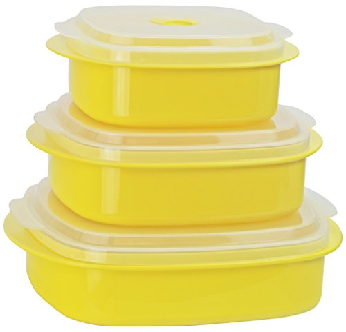 Yellow Bakeware Set (Calypso Basics by Reston Lloyd 6-Piece Microwave Cookware, Steamer and Storage Set, Lemon)