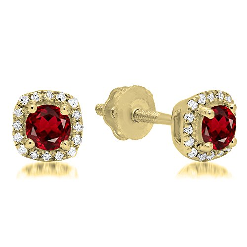 10K Yellow Gold Round Cut Garnet & White Diamond Ladies Halo Style Stud Earrings by DazzlingRock Collection
