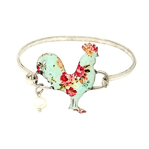 Emulily Floral Rooster Bangle Bar Wire Bracelet with Pearl Charm (Silver ()