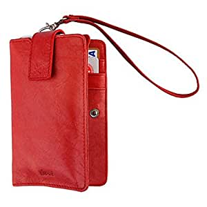 LZX Red Brazil Import Full-Grain Cover Multifunctional Protective PU Leather Case for iPhone 4/4S